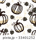 Ink hand drawn seamless pattern with pumpkins 33401252