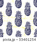 Ink hand drawn seamless pattern with pineapples 33401254