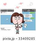 SNS 女性 スマートフォンのイラスト 33409285