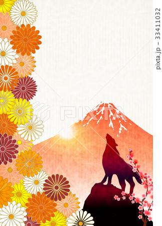 戌 年賀状 富士山 背景  33411032