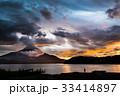 富士山 夕焼け 山中湖 台風一過 33414897