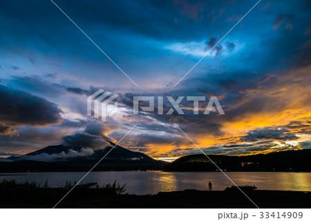 富士山 夕焼け 山中湖 台風一過 33414909