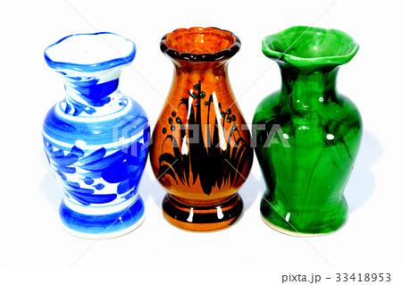 Three vases on white backgroundの写真素材 [33418953] - PIXTA