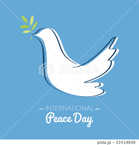 International peace day with drawing of a dove  33419698