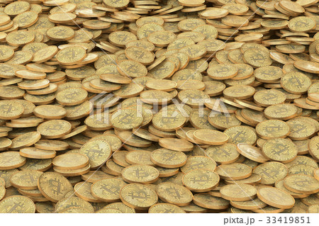 pile of golden bitcoins coins background 33419851