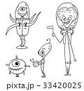 Cartoon Vector Set of Friendly Aliens Astronauts 33420025