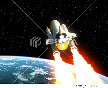 Space Shuttle Launch Above The Planet Earth 33423038