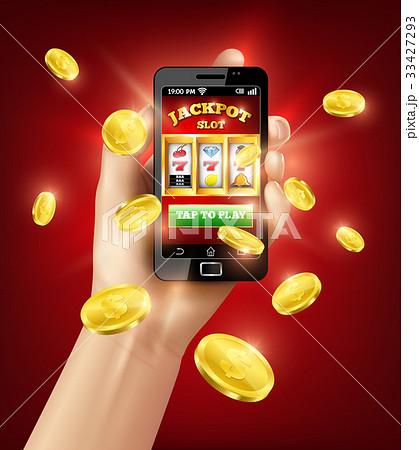 Slot Machine Mobile App 3D Illustration 33427293