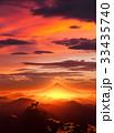 犬 富士山 夜明けのイラスト 33435740