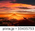 犬 富士山 夜明けのイラスト 33435753