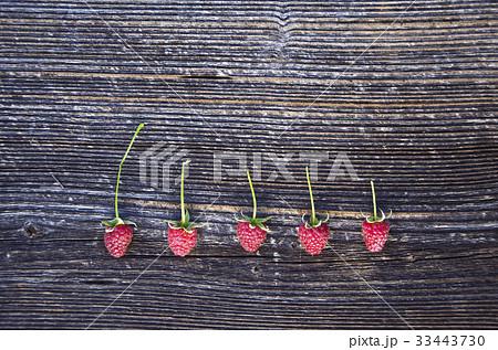 raspberry berry on old wooden plank backgroundの写真素材 [33443730] - PIXTA