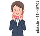 スーツ&スカーフ 女性 正面 呼びかける 33449701
