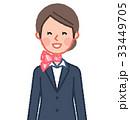 スーツ&スカーフ 女性 正面 笑う 33449705