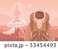 ロケット 宇宙飛行士 火星のイラスト 33454493