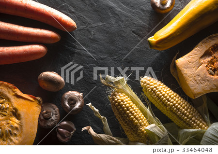 Half-frame of vegetables and mushrooms on a 33464048