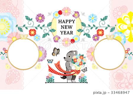 2018年2030年戌年完成年賀状テンプレート「犬と花束と蝶写真フレーム」HAPPYNEWYEAR 33468947