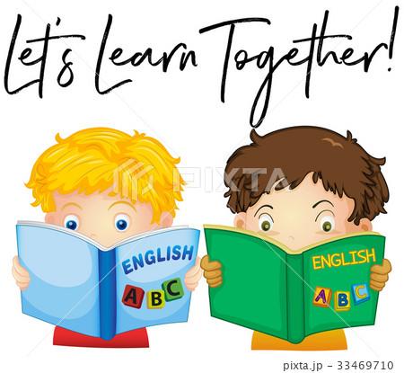 Boys reading book with phrase ...