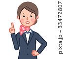 スーツ&スカーフ 女性 正面 注意 33472807