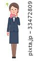 スーツ&スカーフ 女性 正面 考える 33472809