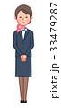 スーツ&スカーフ 女性 正面 お詫び 33479287