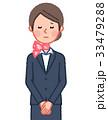 スーツ&スカーフ 女性 正面 お詫び 33479288