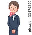 スーツ&スカーフ 女性 正面 手を組む 33479290