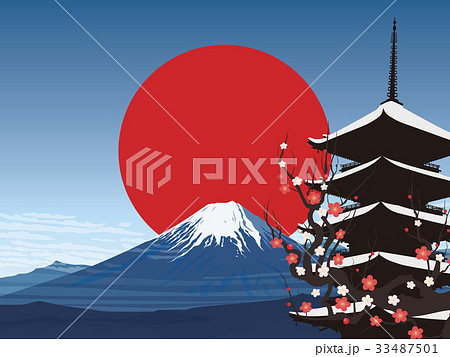 富士山と五重塔 33487501