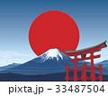 富士山と鳥居 33487504