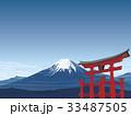 富士山と鳥居 33487505