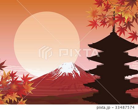 赤富士と五重塔 33487574