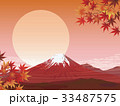 赤富士 紅葉 富士山のイラスト 33487575