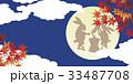 紅葉と満月 33487708