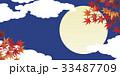 紅葉と満月 33487709