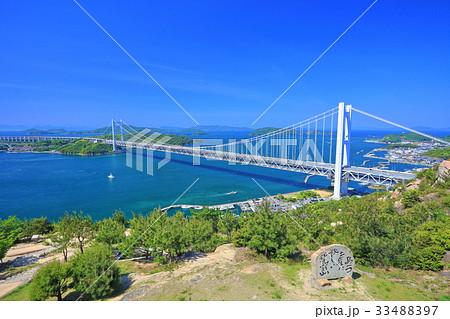 鷲羽山から見た下津井瀬戸大橋 33488397