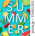 Summer Banner with Pineapple, Watermelon, Banana 33491303