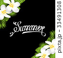 Summer Border with Frangipani Flowers and Green 33491308