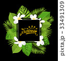 Summer Card with Frangipani Flowers and Green 33491309