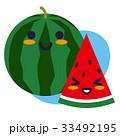 すいか 西瓜 果物のイラスト 33492195