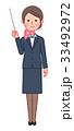 スーツ&スカーフ 女性 正面 指示棒 33492972