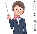 スーツ&スカーフ 女性 正面 指示棒 33492973