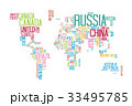 World Map with Countries Name Text or Typography 33495785