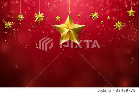 Christmas stars ornament hanging on red background 33499779