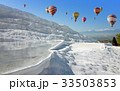 Hot air ballons flying above Pamukkale, Turkey 33503853