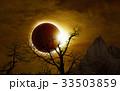 Total solar eclipse in dark glowing sky 33503859