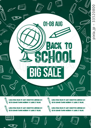 Back to School vector chalkboard sale poster 33520800