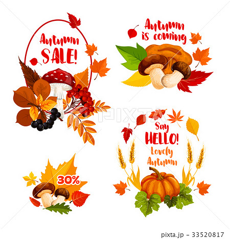Autumn sale discount shopping vector icons set 33520817