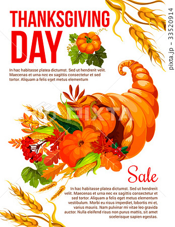 thanksgiving sale banner template with cornucopiaのイラスト素材