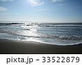 朝日に輝く波打ち際(千葉県・大原海岸) 33522879
