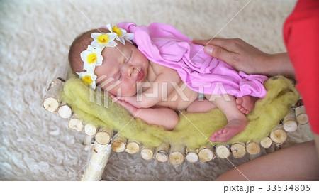 Little Newborn Baby Sleeping in Studio. 33534805