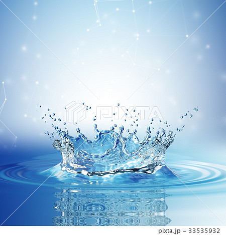 Water splash in dark blue color with a drop of 33535932